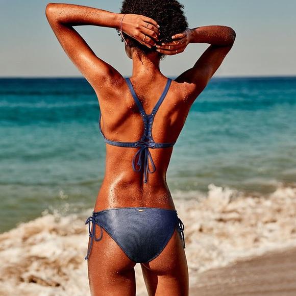 PINK Victoria's Secret Other - VS PINK black ribbed lace up bikini NWT